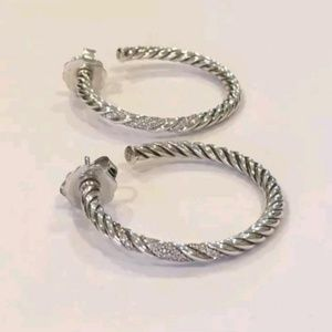 David Yurman Willow Diamond Hoop Earrings